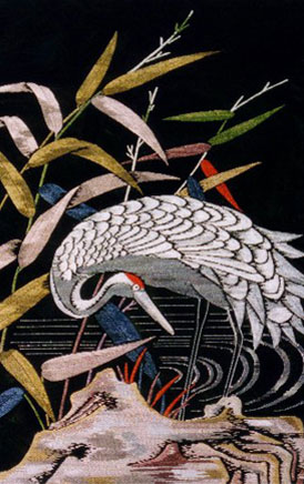 image of an embroided crane